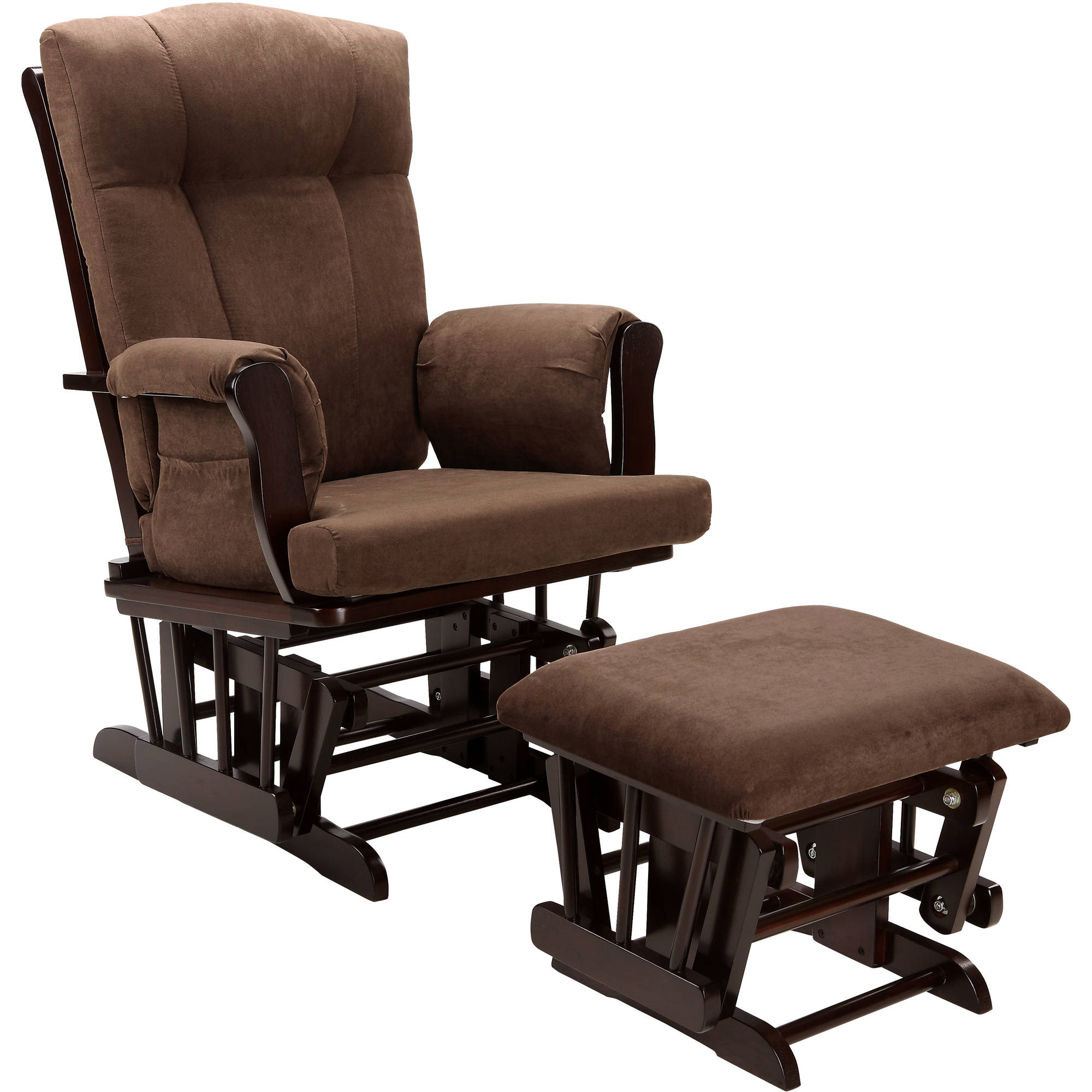Marvelous Baby Relax Glider Rocker And Ottoman Espresso With Chocolate Cushions    Walmart.com