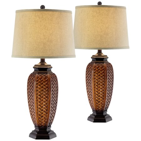 Regency Hill Tropical Table Lamps Set of 2 Weathered Brown Woven Wicker Jar Beige Linen Drum Shade for Living Room Family Bedroom