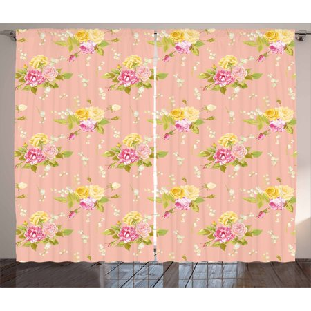 Shabby Chic Curtains 2 Panels Set, Colorful Vintage Style Roses Corsage Diagonal Pattern Bridal Wedding Theme, Window Drapes for Living Room Bedroom, 108W X 63L Inches, Multicolor, by Ambesonne (Vintage Wedding Theme)