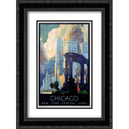 New York Central Lines / Chicago 2x Matted 18x24 Black Ornate Framed Art Print by Ragan, -