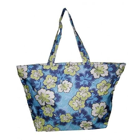 XL Oversized Fashion Print Oxford Beach Bag Tote (Blue Flower)
