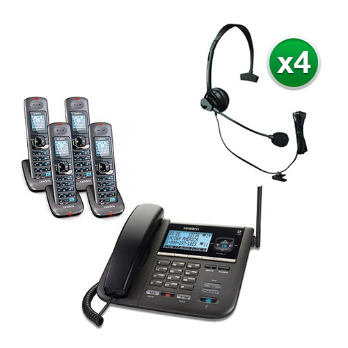 Uniden DECT4096-4 with Headset 2-Line DECT 6 Corded Cordless Phone by Uniden