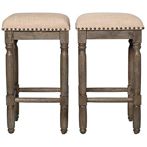 Modern Rustic Style 26 Inch Wood Backless Counter Stools