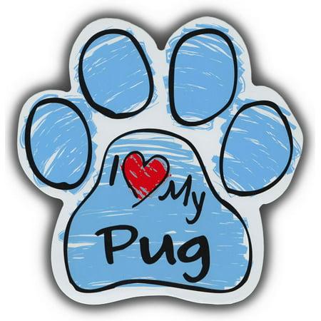 Scribble Paw Dog Magnets: I Love My Pug | Cars, Trucks, Refrigerators ()