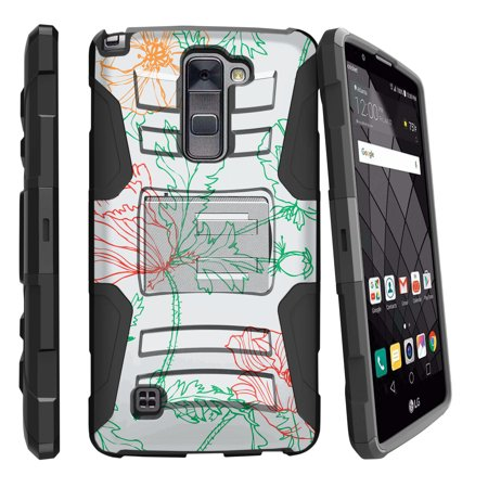 LG Stylus 2 Plus K530, LG Stylo 2 Plus Miniturtle® Clip Armor Dual Layer Case Rugged Exterior with Built in Kickstand + Holster - Green Red Lines Vine
