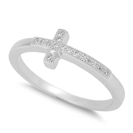Christian Sideway Cross Cubic Zirconia Ring Sterling Silver 925