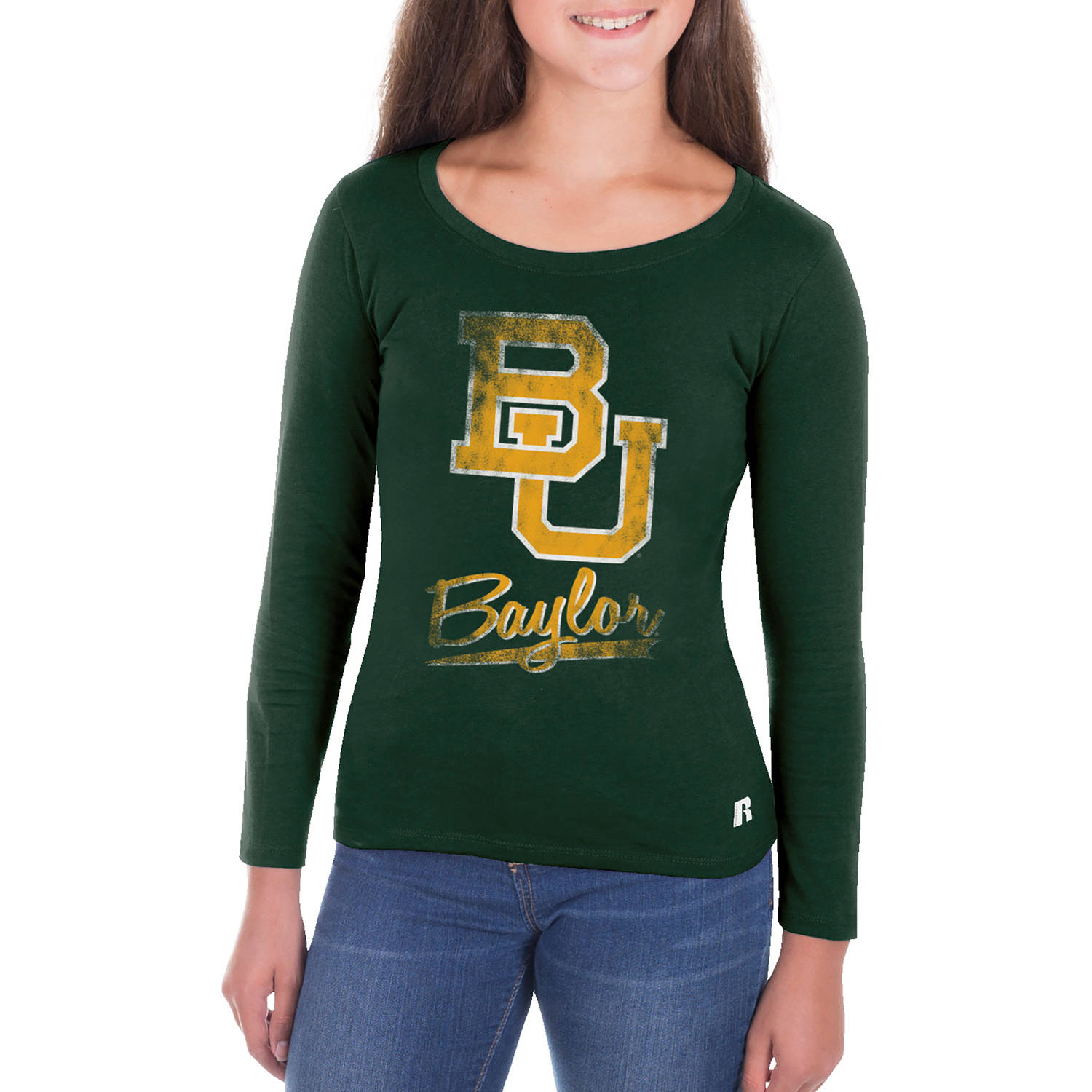 NCAA Baylor Bears Girls Long Sleeve Scoop Neck Tee
