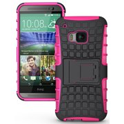 NAKEDCELLPHONE'S PINK GRENADE GRIP RUGGED TPU SKIN HARD CASE COVER STAND FOR HTC ONE M9 PHONE (Verizon, Sprint, AT&T, T-Mobile, Unlocked, One M9 2015)
