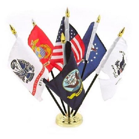 Military Armed Forces 5 Branch Service Miniature Flag Desk Set Table Gold Base (Military Flap)