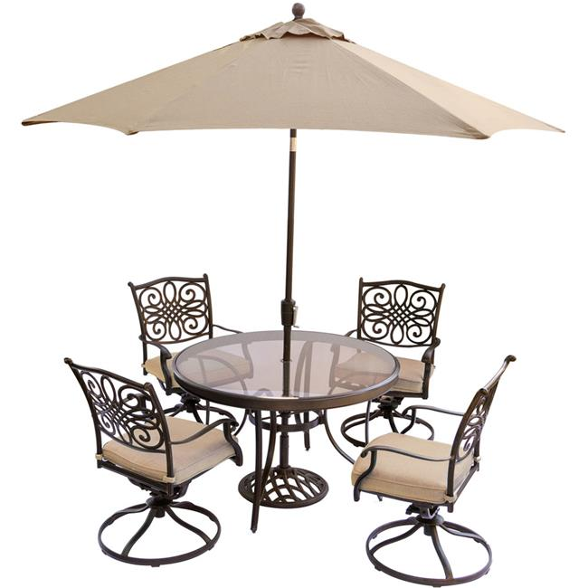 Traditions Dining Set with Swivel Chairs & Glass Table, Umbrella - 5 Piece