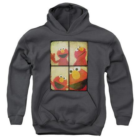 Trevco SESAME STREET PHOTO BOOTH ELMO Charcoal Child Unisex Hooded  Sweatshirt