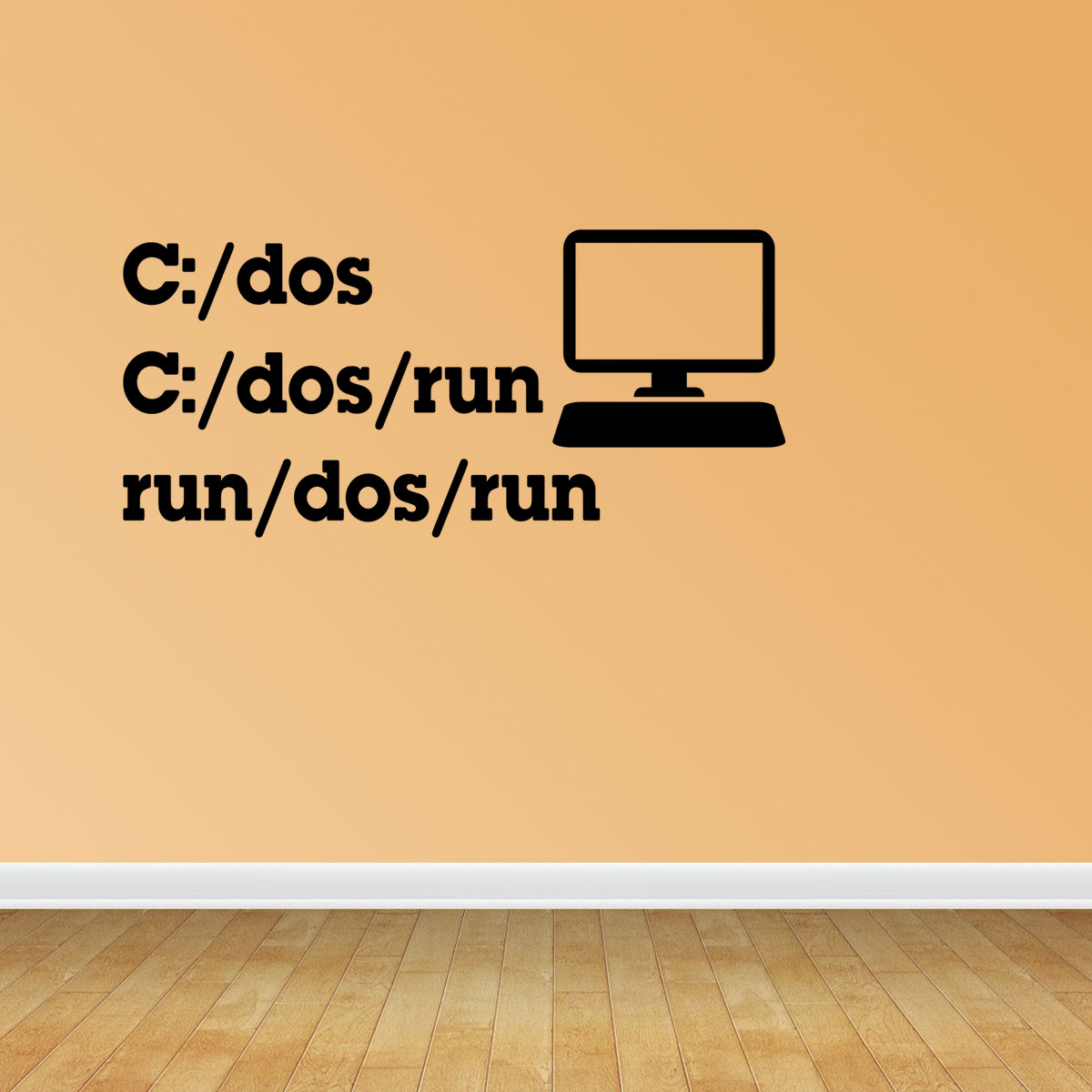 C Dos Run Vinyl Wall Decals Computer Geek Decal Office Decal Nerdy JP49