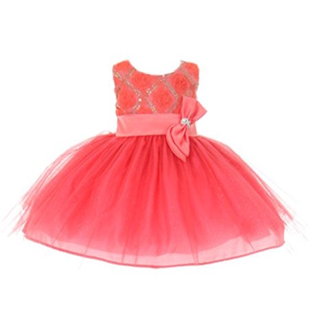 StylesILove Baby Girls Sequin Bow Sash Tulle Special Occasion Dress (12 Months, coral)
