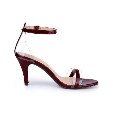 78b64534bf6 Women's Stiletto Heel Ankle Strap Clear Burgundy Sandals - 10 M US