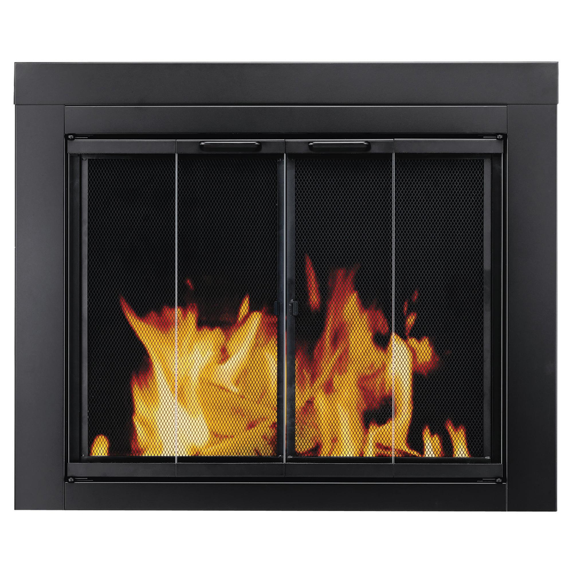 Pleasant Hearth Ascot Black Fireplace Glass Doors -Small