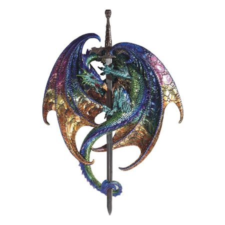Green and Purple Dragon with Sword Medieval Fantasy Wall Plaque Decoration New