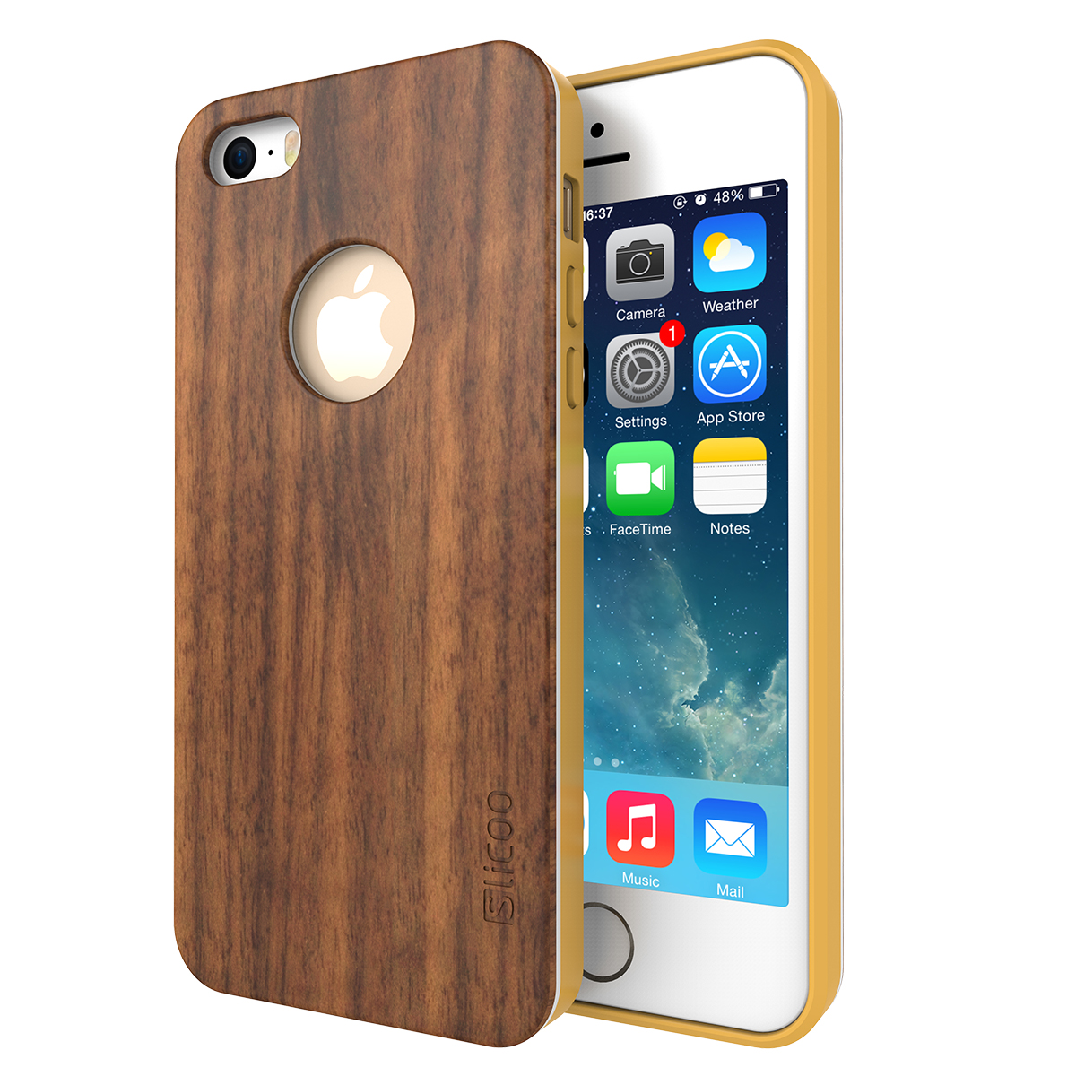 iPhone 5/5s Wood Case, Slicoo�� Nature Series Wood Slim Covering Case for iPhone 5/5s