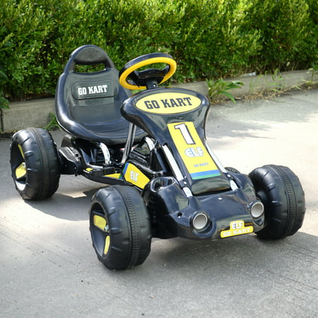 Kids Go Kart 4 Wheel Car Racer Powered Stealth Pedal Black