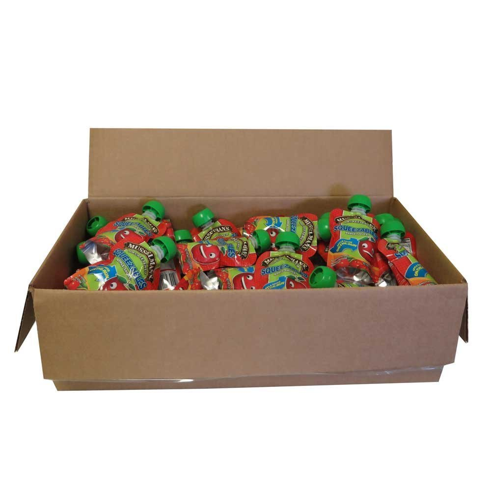 50 PACKS : Musselmans Unsweetened Squeezable Apple Sauce, 3.17 Ounce