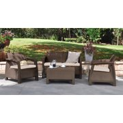 Keter Corfu Resin Love Seat with Cushions, All Weather Plastic Patio ...