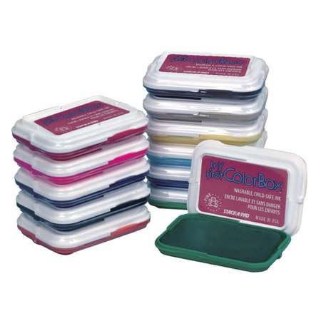 My First ColorBox Non-Toxic Washable Stamp Pad Set, 2-7/8 x 2 Inches, Assorted Colors, Set of 8