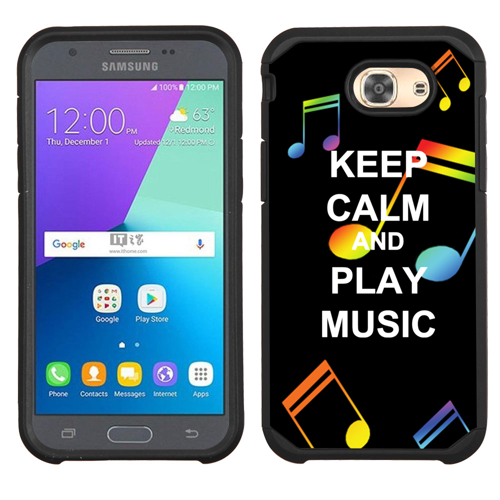 Hybrid Case for Samsung Galaxy J3 Luna Pro 4G LTE / J3 Eclipse, OneToughShield ® Dual Layer Shock Absorbing Phone Case (Black) - Keep Calm Music