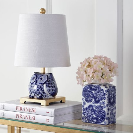 Justina 16u0022 Ceramic Mini LED Table Lamp, Blue/White by JONATHAN Y
