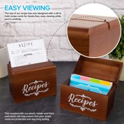 Vintage Wood Recipe Box with Recipe Holder 75 4x6 Recipe Cards, 10 Card Dividers