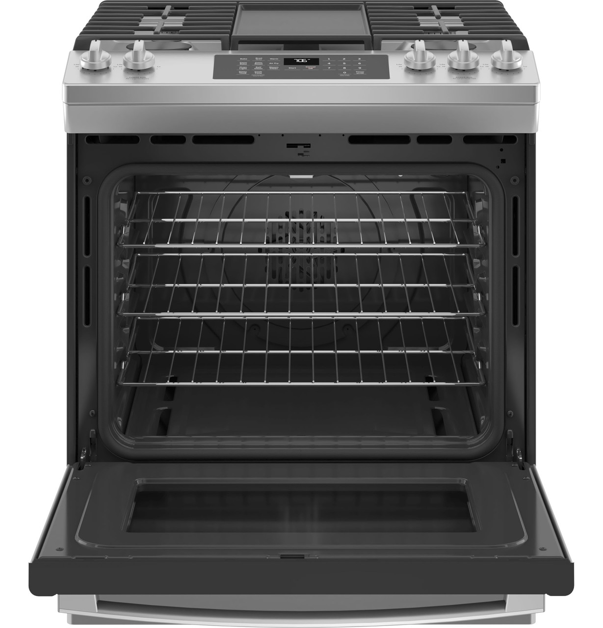 18,000 BTU Power Boil Burner ADA Compliant 5.3 Cu and Star-K Certified: Stainless Steel Convection Oven GE JGS760SPSS 30 Inch Slide-In Gas Range with 5 Sealed Burners Ft No Preheat Air Fry