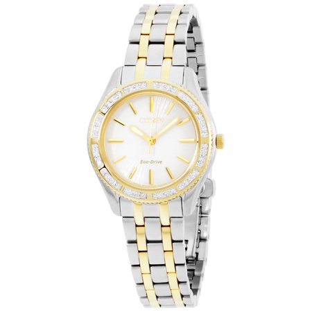 EM0244-55A Women's Carina Diamond Bezel White Dial Two Tone Steel (Ladies Two Tone White Dial)