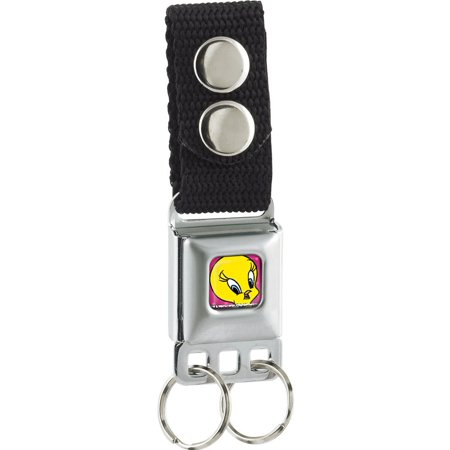 Tweety Bird Face/Hearts Full Color Pinks Seatbelt Buckle Keychain - Bird Keychain