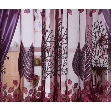 250*100cm Living Room Curtain Floral Tulle Door Window Curtain Drape Panel Sheer Scarf Valances Glass Yarn Curtains - image 9 of 9