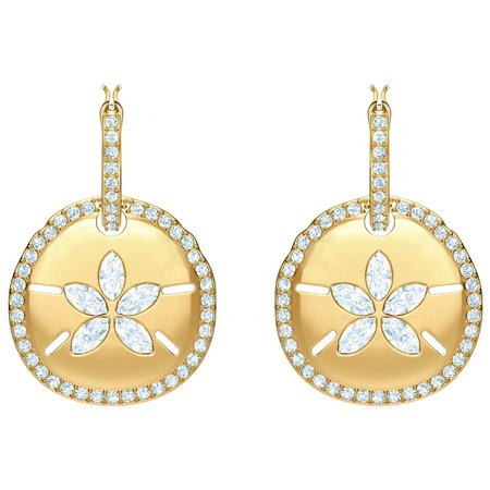 Swarovski Bella Pierced Earrings (Swarovski Ocean Sand Coin Pierced Earrings - White - Gold)