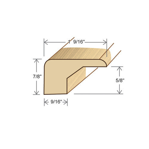 Moldings Online 0.88'' x 1.56'' x 78'' Birch Square Nose