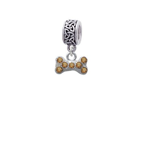 Silvertone Mini Brown Crystal Dog Bone - Celtic Knot Charm