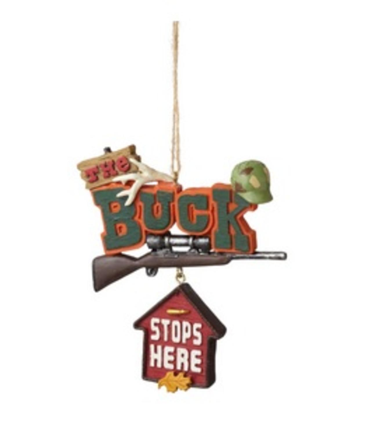 "3.5"" Funny ""The Buck Stops Here"" Quote Plaque Christmas Ornament"