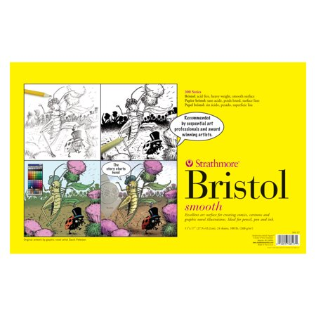 Strathmore Sequential Art Bristol Paper Pad, 300 Series, 11in x 17in, Smooth (Bristol Pad)