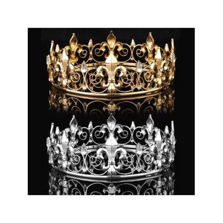 Gold Tiaras And Crowns (Rhinestone King Crown Tiara Wedding Pageant Bridal Diamante Headpiece)