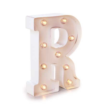 Darice Light Up Marquee Letter: White Letter R, 9.875 - Light Up Jewelry
