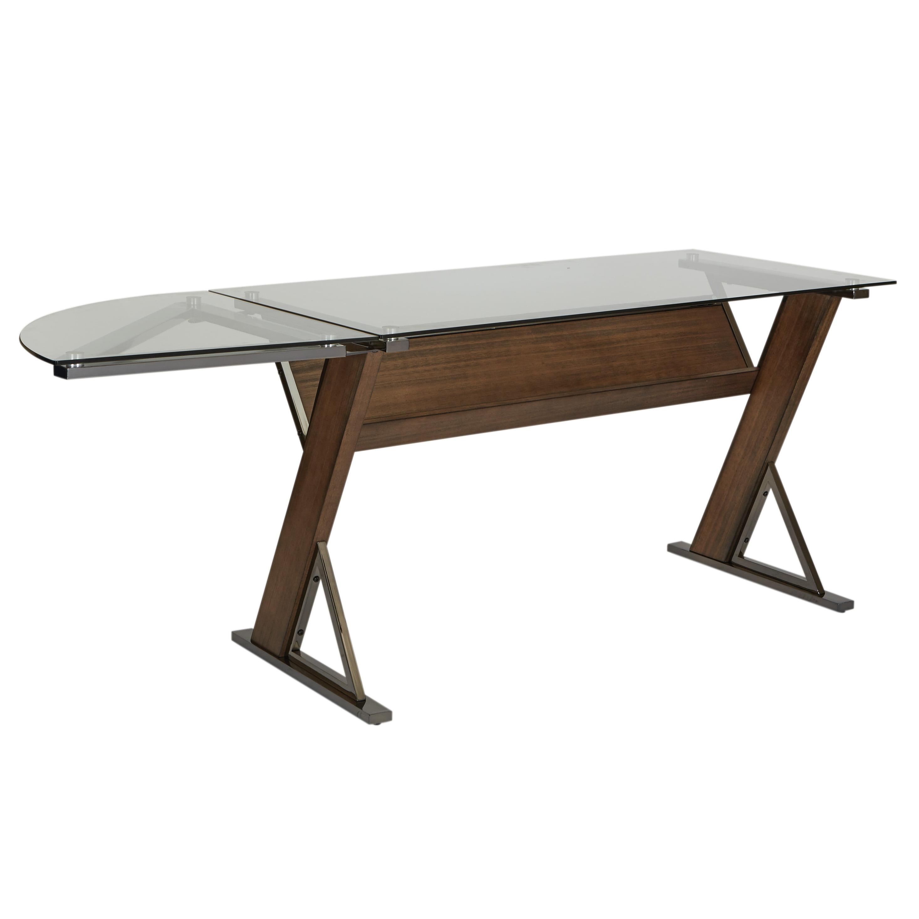 Eureka Small Desk Corner Unit with Carmel Wood and Black Nickel