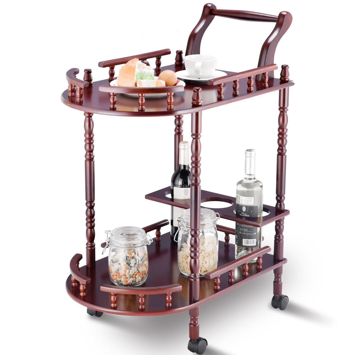 Gymax Kitchen Serving Bar Cart Trolley Wood 2 Tier Rolling Wine Rack Stand Cherry