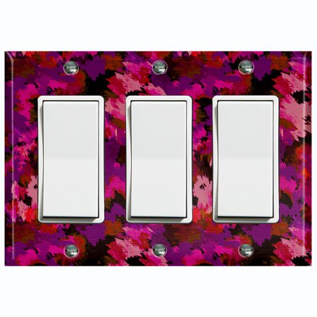Metal Light Switch Plate Outlet Cover Pink Artistic Camo Triple Rocker