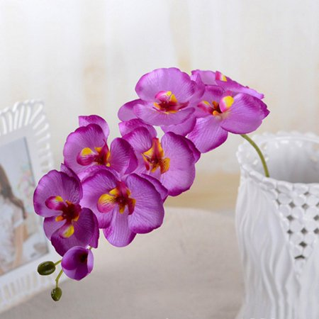 3 pack Artificial Phalaenopsis Flowers Branches Real Touch Orchids Flowers for Home Office Wedding Decoration ()