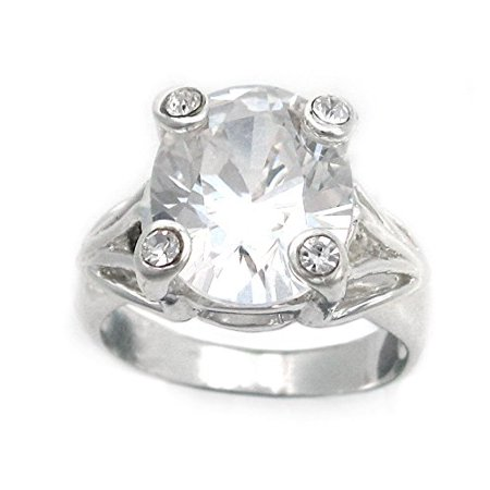 Clear Crystal Cocktail Ring - Four Points Clear Crystal Sterling Silver Cocktail Ring