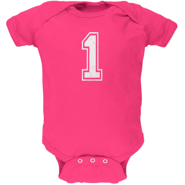 Birthday Kid Jersey 1 1st First Hot Pink Soft Baby One Piece