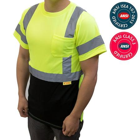 NY BFS8512 High-Visibility Class 3 T Shirt with Moisture Wicking Mesh Birdseye, Black Bottom (5XL, Green) ()