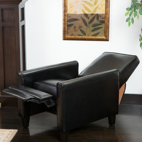 Christopher Knight Home Darvis Black Bonded Leather Recliner Club Chair by by Overstock