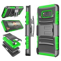 Galaxy S8 / S8 Plus Case, Samsung S8 Holster Belt, Tekcoo [Hoplite] Shock Absorbing [Black] Locking Clip Defender Heavy Full Body Kickstand Carrying Armor Cases Cover
