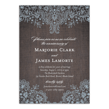 Personalized Wedding Anniversary Party Invitation - Rustic Lace - 5 x 7 Flat