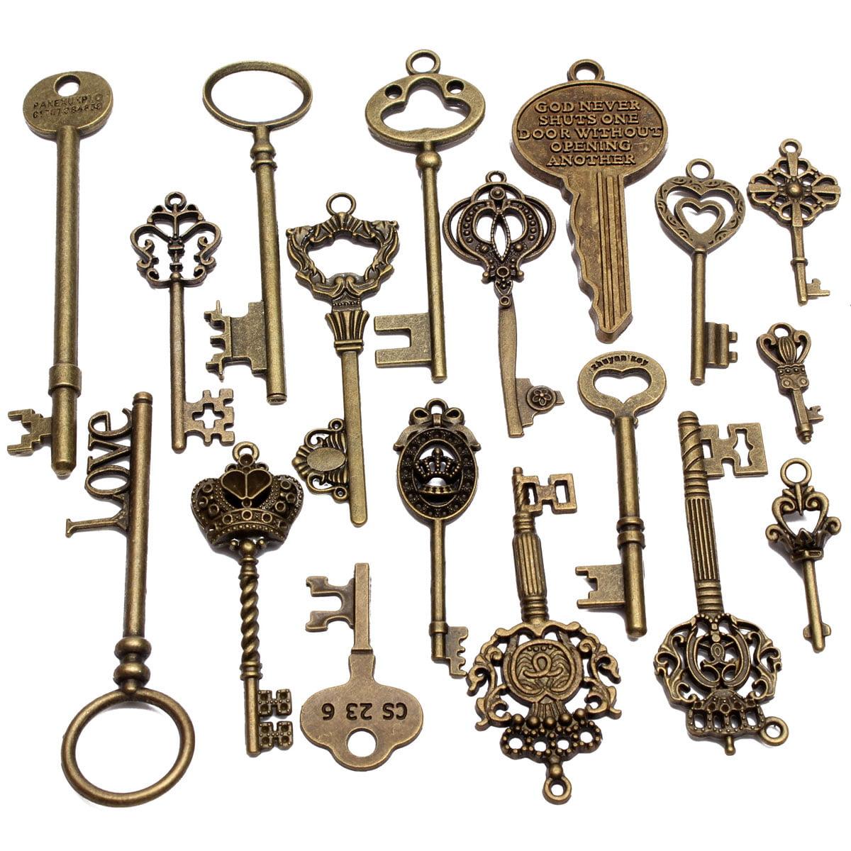 Assorted Antique Vintage VTG Old Look Skeleton Keys Bronze Steampunk Pendant DIY